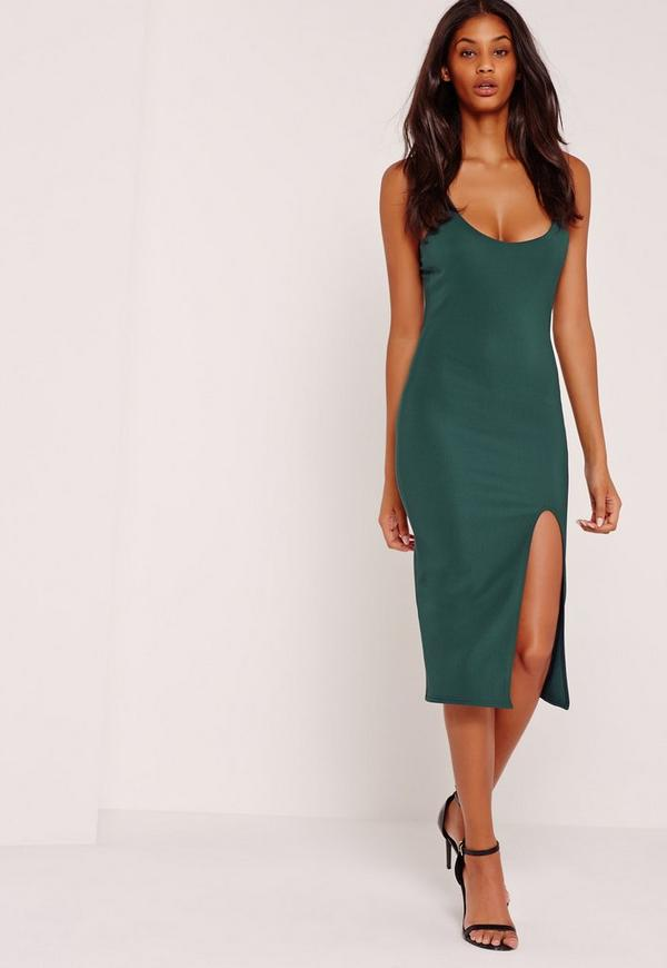 Strappy Scoop Neck Midi Dress Forest Green