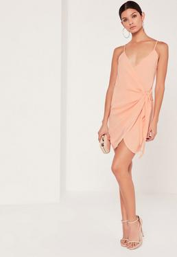 Strappy Wrap Tie Waist Shift Dress Nude