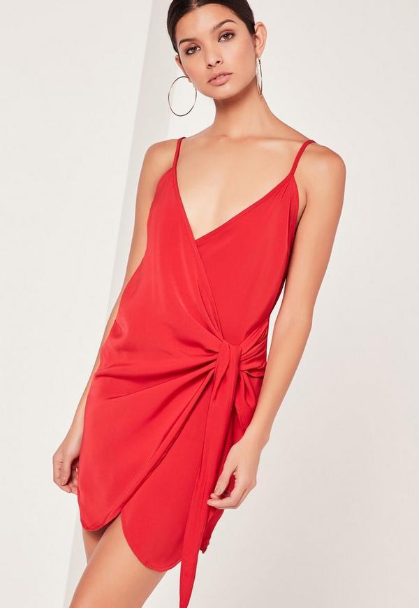 Strappy Wrap Tie Waist Shift Dress Red