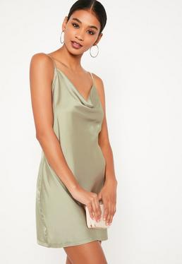 Green Silky Cowl Front Cami Dress