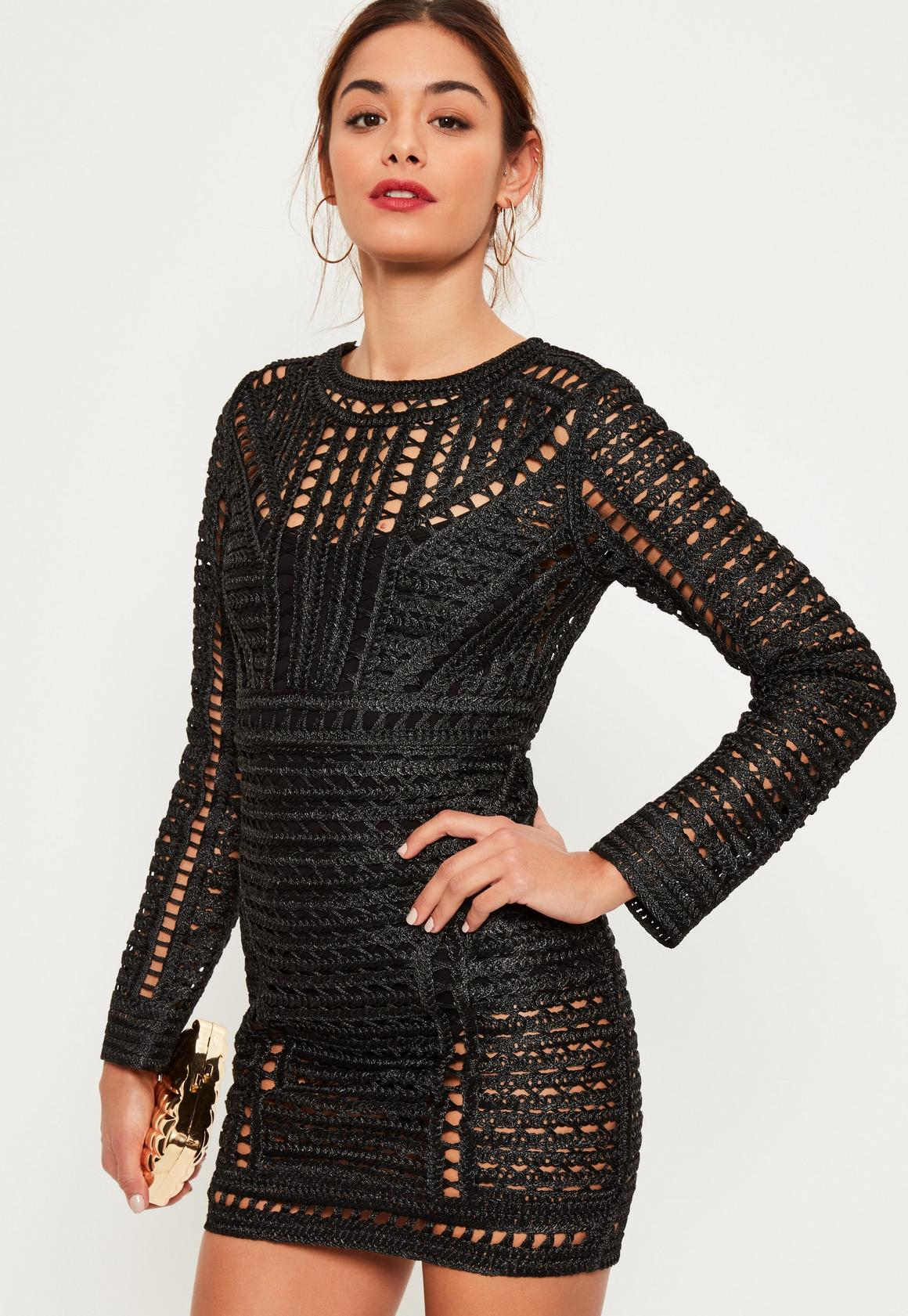 Black Crochet Lace Long Sleeve Bodycon Dress | Missguided