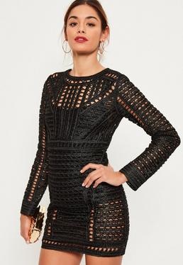 Black Crochet Lace Long Sleeve Bodycon Dress