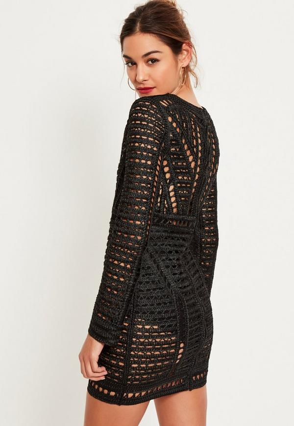 Black Crochet Lace Long Sleeve Bodycon Dress | Missguided Ireland