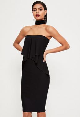 Black Bandeau Frill Detail Peplum Midi Dress