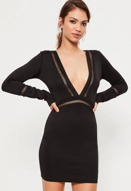 Black Long Sleeve Front Plunge Mesh Panel Bodycon Dress