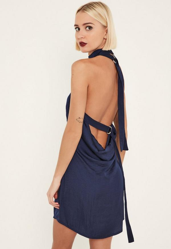 Navy Tie Neck Shift Dress