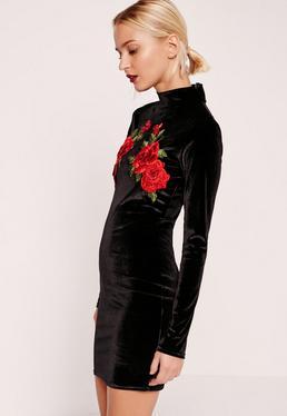 High Neck Flower Detail Velvet Bodycon Dress Black