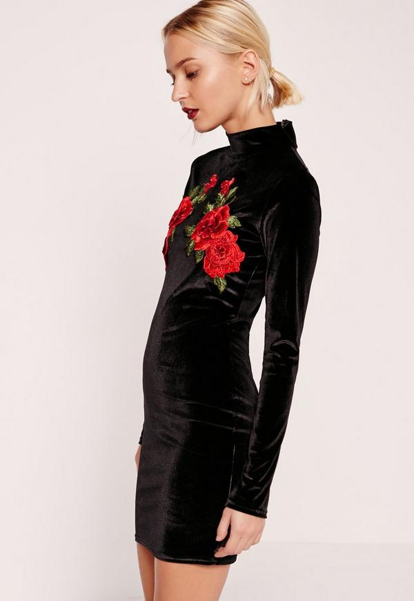 High Neck Flower Detail Velvet Bodycon Dress Black