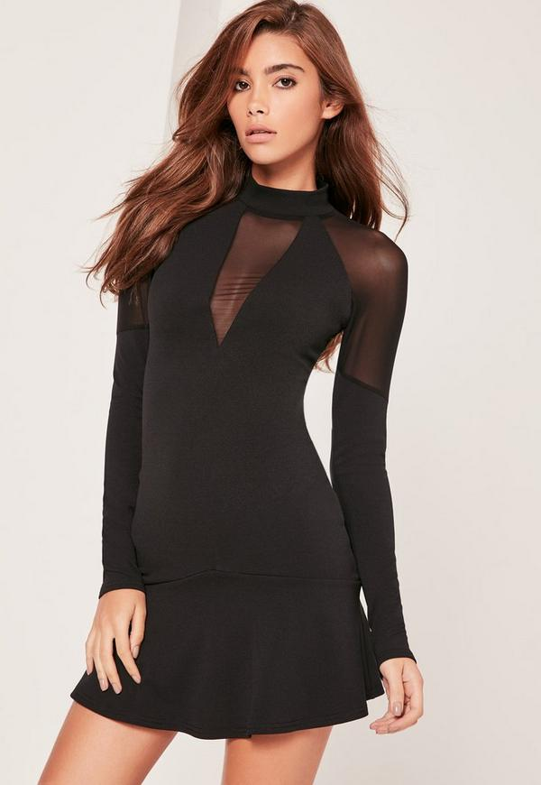 Black Mesh Sleeve High Neck Swing Dress