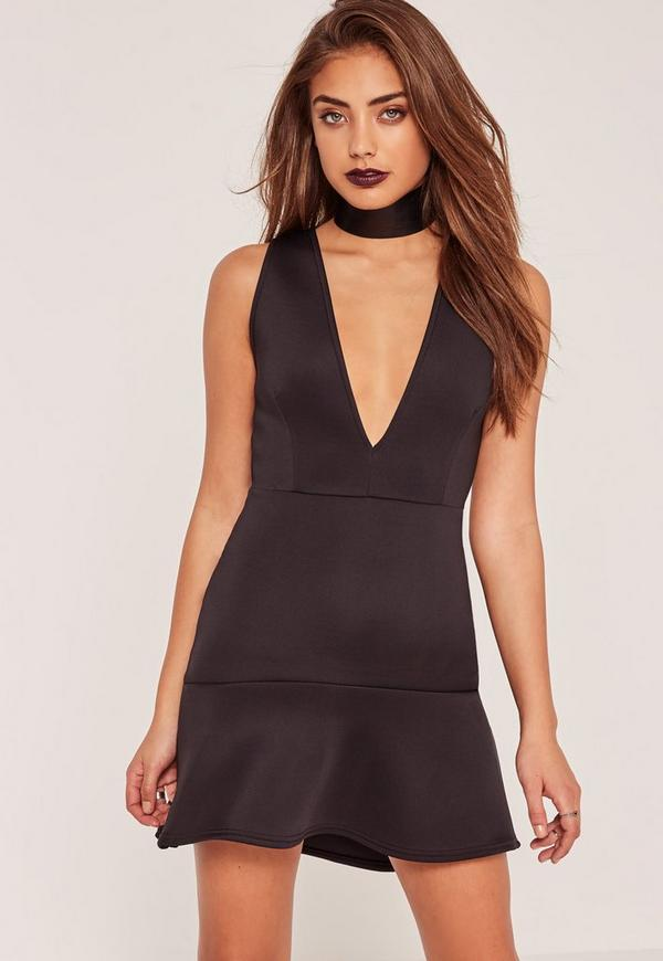 Black Plunge Frill Hem Scuba Bodycon Dress