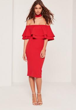2 In 1 Choker Double Frill Midi Dress Red