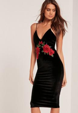 Strappy Flower Velvet Midi Dress Black