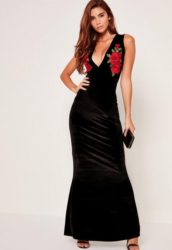 Black Plunge Applique Sleeveless Maxi Dress