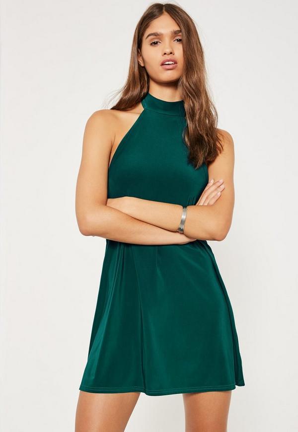 Green Halterneck Swing Dress