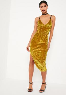 Chartreuse Green Strappy Crushed Velvet Bodycon Midi Dress