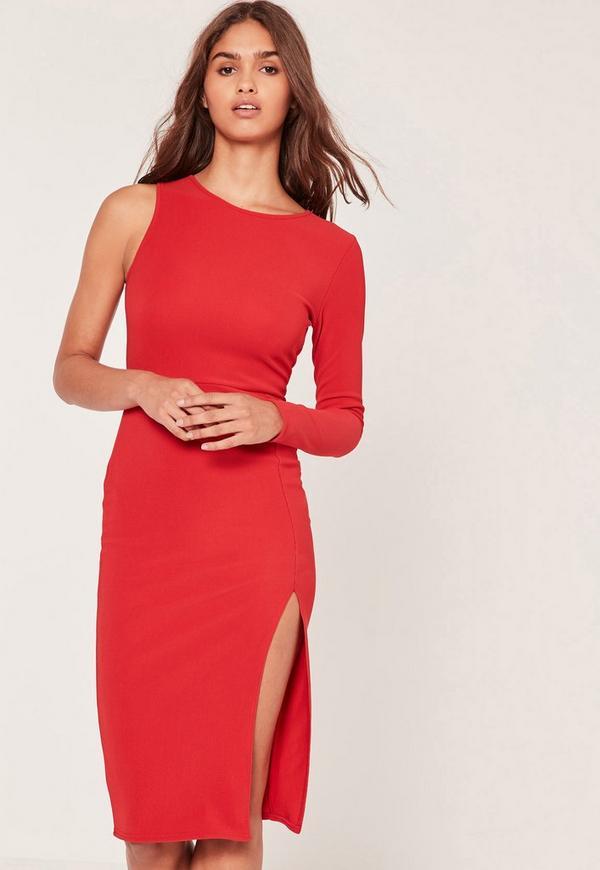 One Sleeve Split Hem Bodycon Dress Red