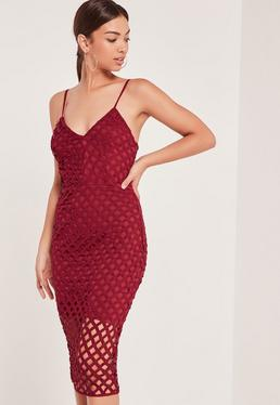 Strappy Lattice Midi Dress Red