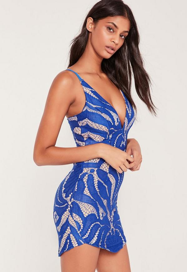Strappy Plunge Lace Contrast Bodycon Dress Cobalt  Blue