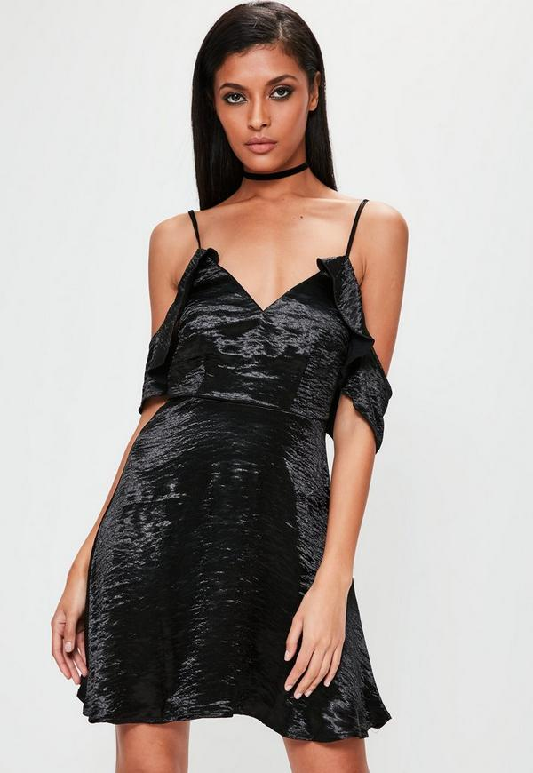 Satin Cold Shoulder Swing Dress Black