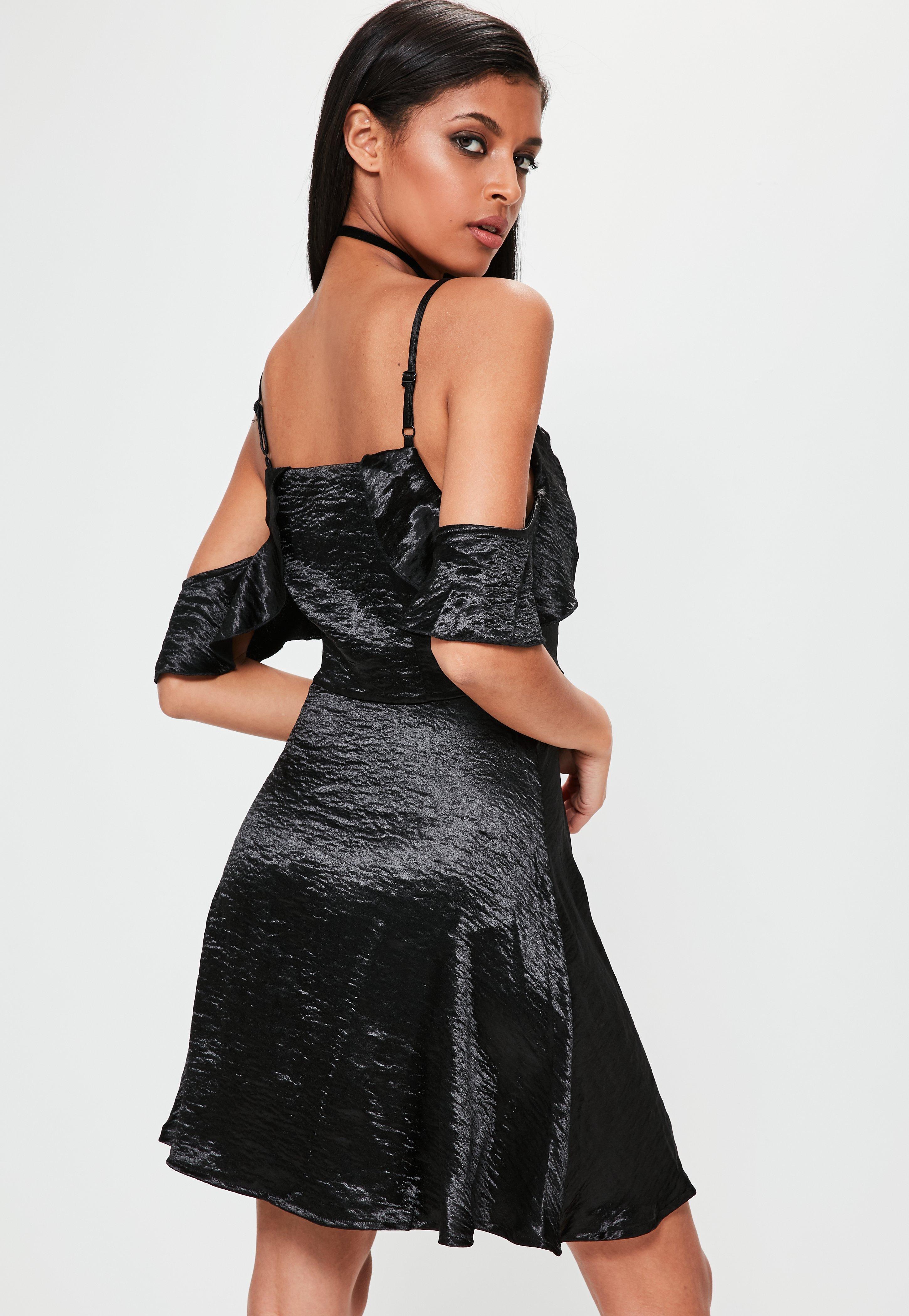 Satin Cold Shoulder Swing Dress Black