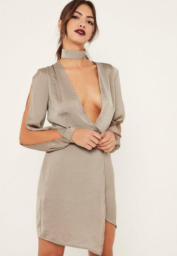 Nude Silky Choker Detail Long Sleeve Shift Dress