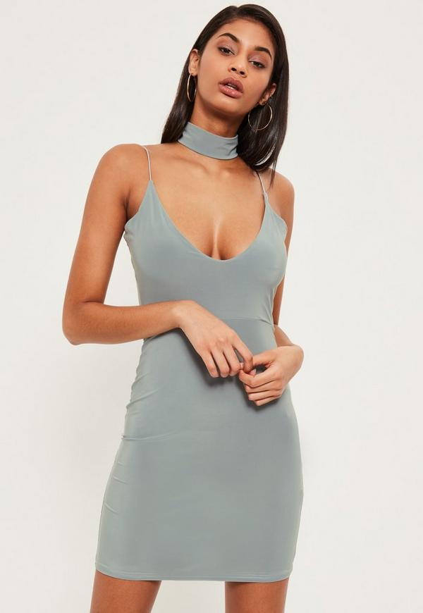 Grey Slinky Choker Detail Mini Dress