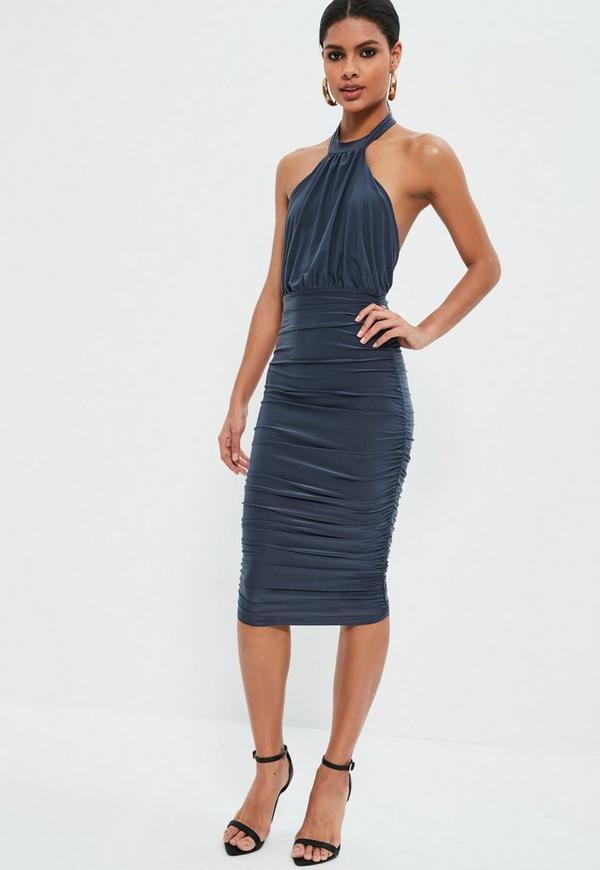 Blue Slinky High Neck Ruched Midi Dress