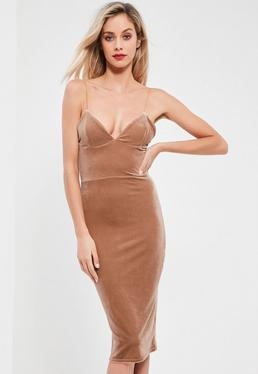 Nude Velvet Plunge Midi Dress