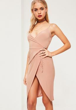 Pink Slinky Wrap Midi Dress