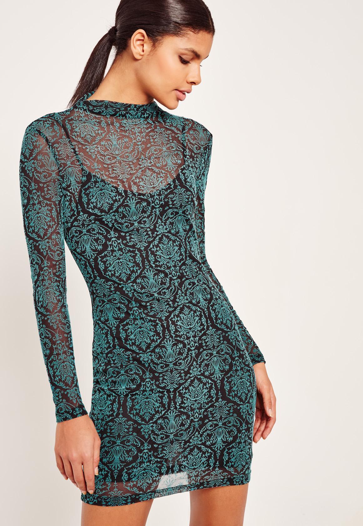 Jacquard Long Sleeve Bodycon Dress Black