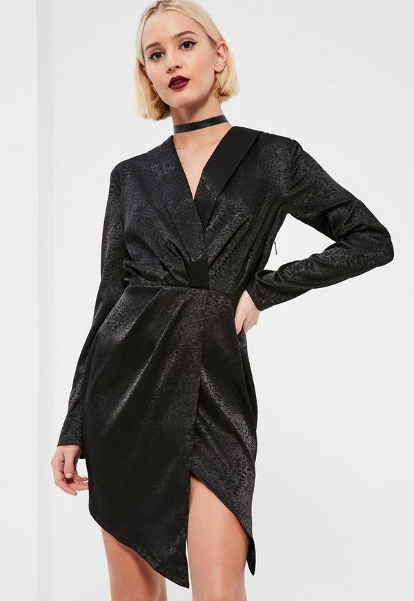 Black Embossed Leopard Wrap Shift Dress
