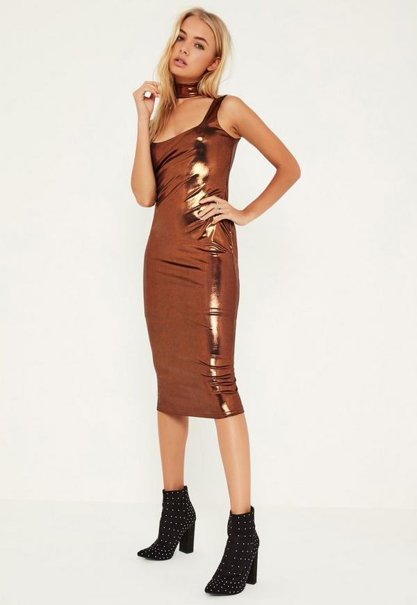 Metallic Choker Detail Midi Dress