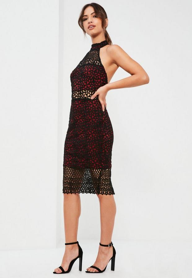 Product photo of Burgundy lace high neck midi dress red