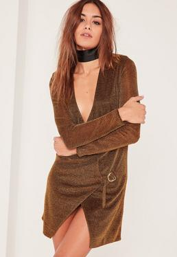 Bronze Metallic Wrap Dress