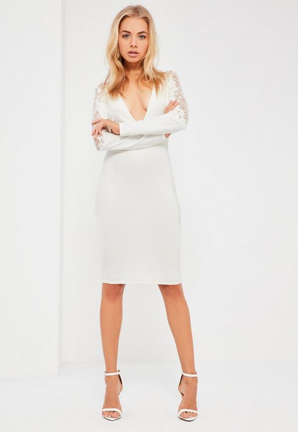 White Scuba & Lace Midi Dress