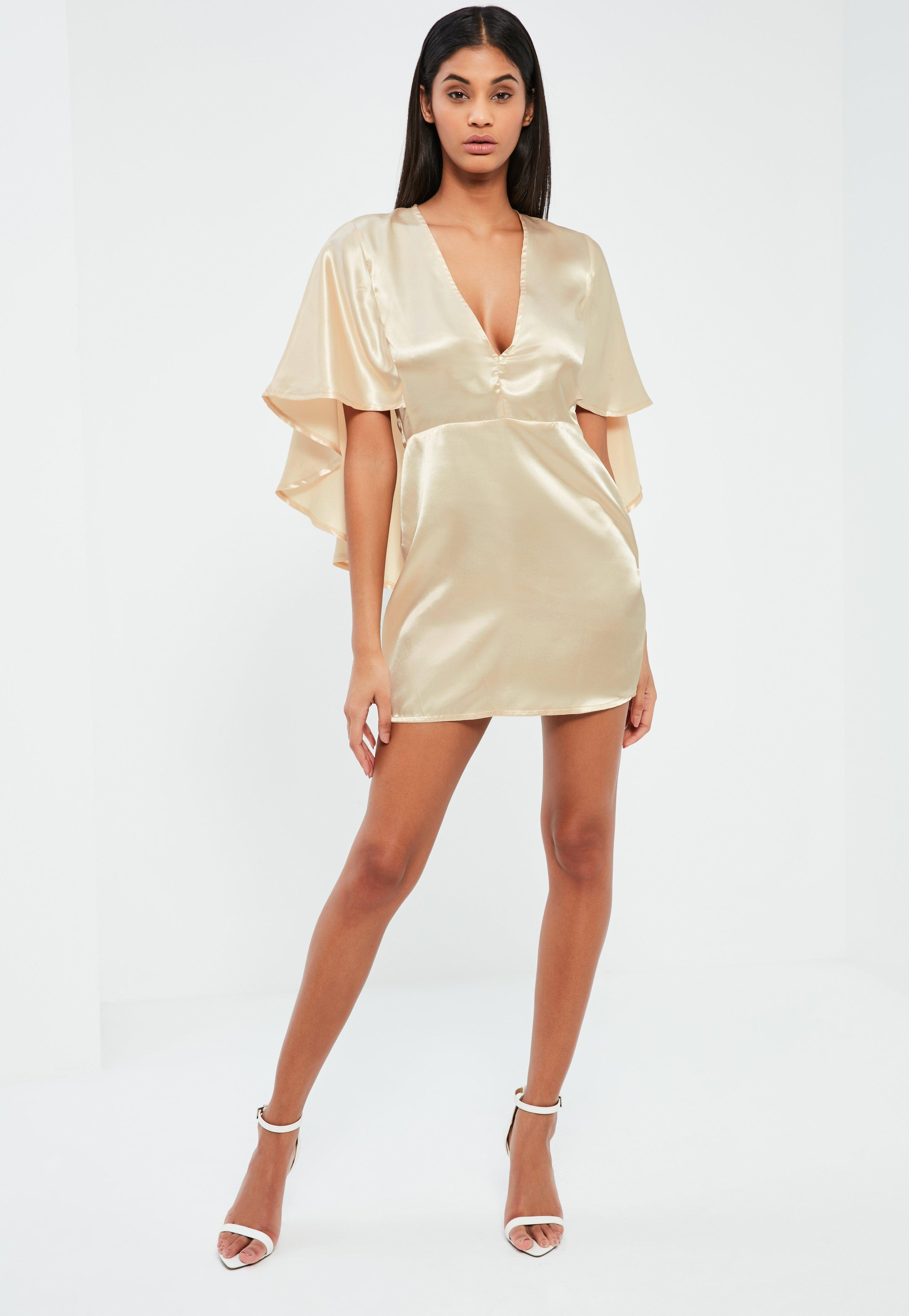 Nude Satin Flutter Cape Shift Dress