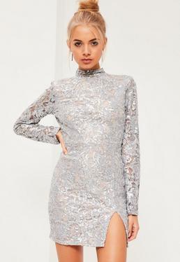 Grey Sequin High Neck Bodycon Dress