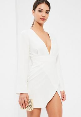 White Plunge Neck Asymmetric Bodycon Dress