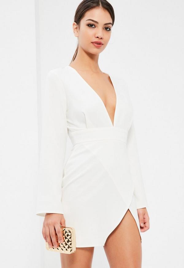 White Plunge Neck Asymmetric Bodycon Dress