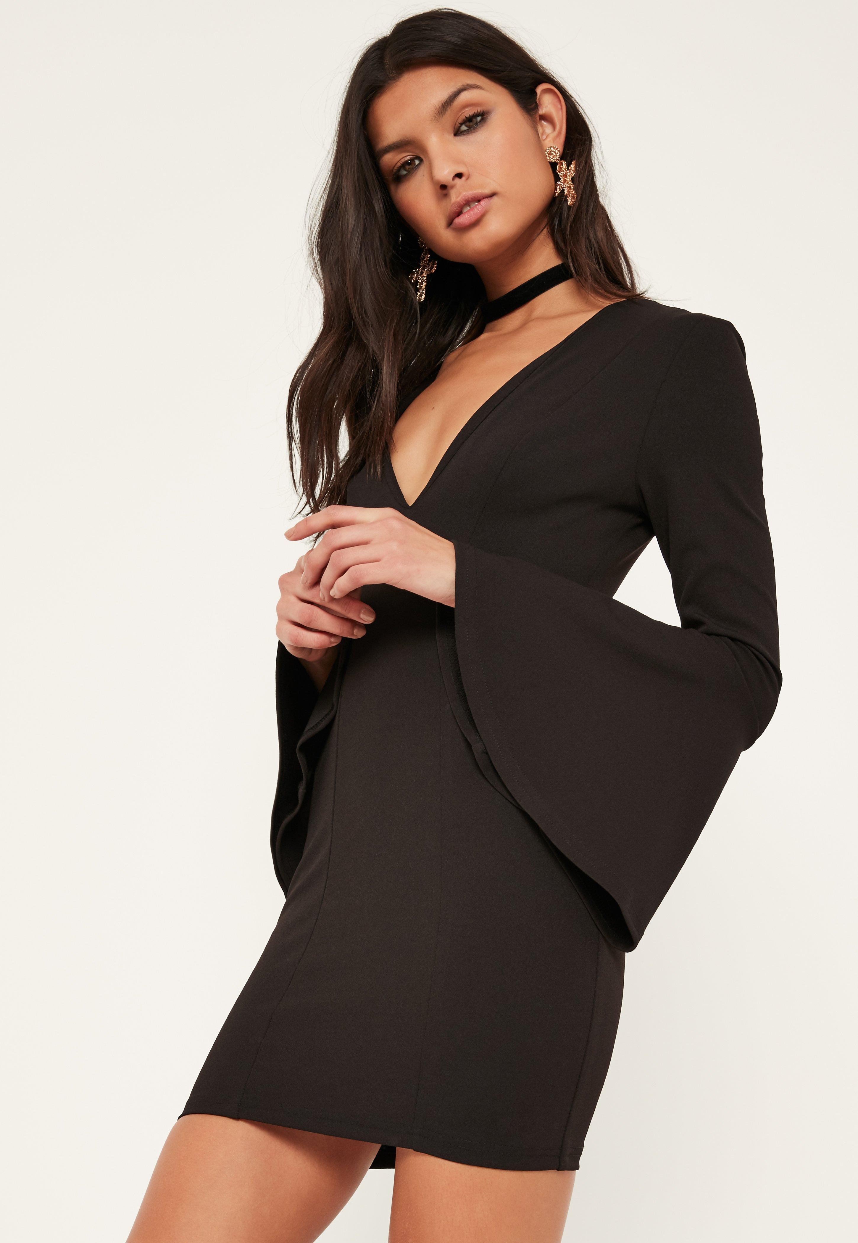 Black Crepe Flutter Sleeve Bodycon Dress