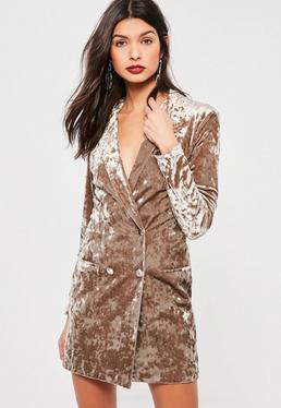 Tan Crushed Velvet Blazer Dress