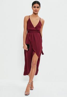 Burgundy Silky Wrap Asymmetric Dress