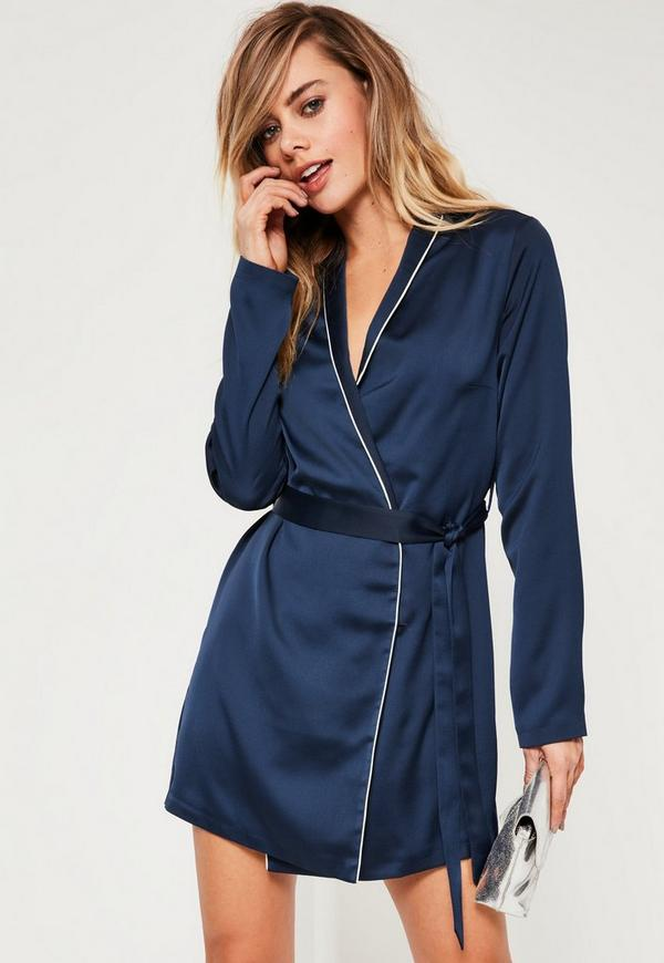 Navy Satin Binded Shift Dress