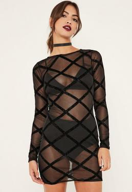 Black Mesh Glitter Detail Bodycon Dress
