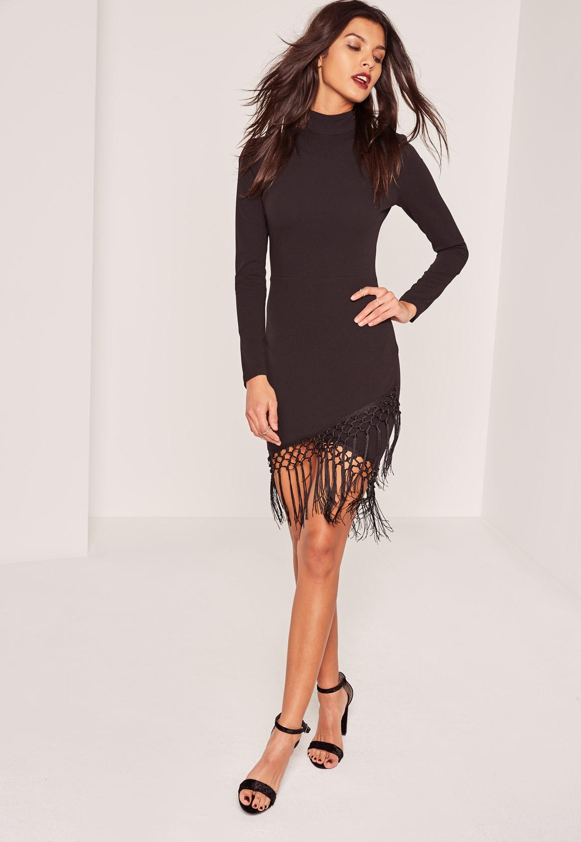 Black High Neck Tassel Wrap Hem Mini Dress