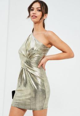 Gold Foiled One Shoulder Bodycon Dress