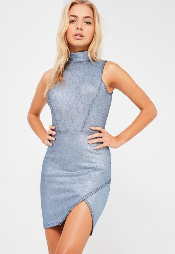Blue Glitter Rib High Neck Bodycon Dress