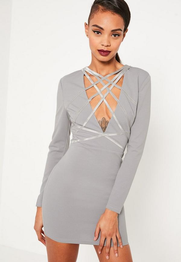 Grey Crepe Strap Detail Bodycon Dress