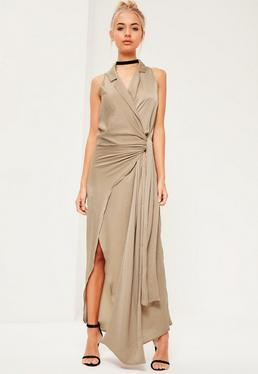 Nude Silky Sleevless Tie Detail Maxi Dress