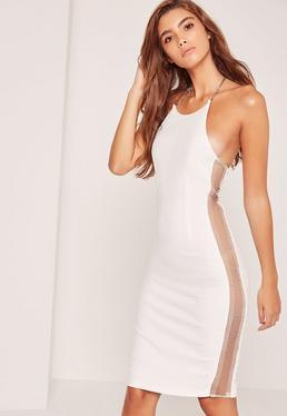 White Crepe Chain Side Detail Midi Dress